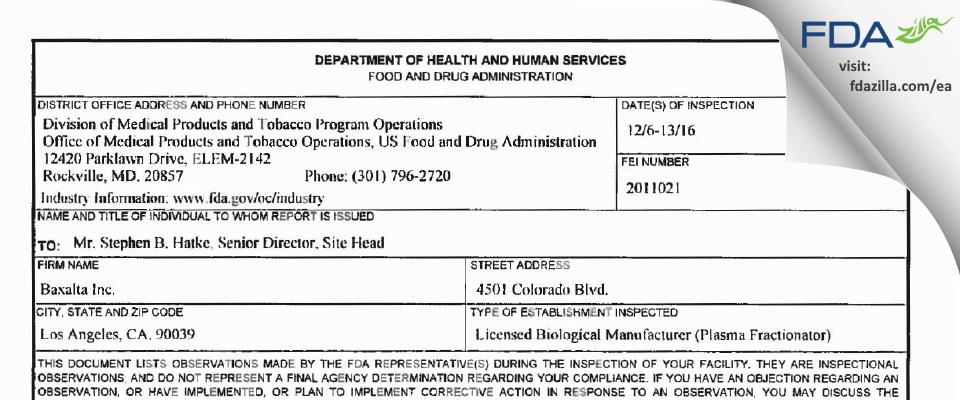 Baxalta FDA inspection 483 Dec 2016