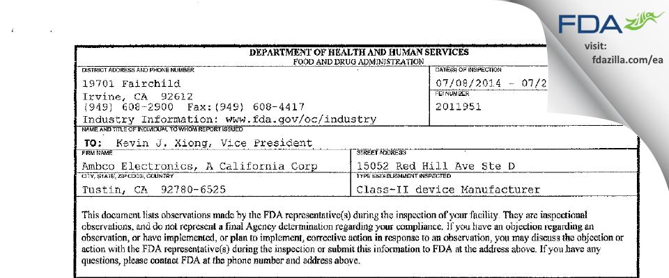 Ambco Electronics, A California FDA inspection 483 Jul 2014