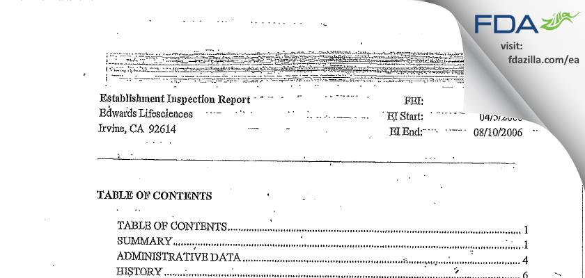 Edwards Lifesciences FDA inspection 483 Aug 2006