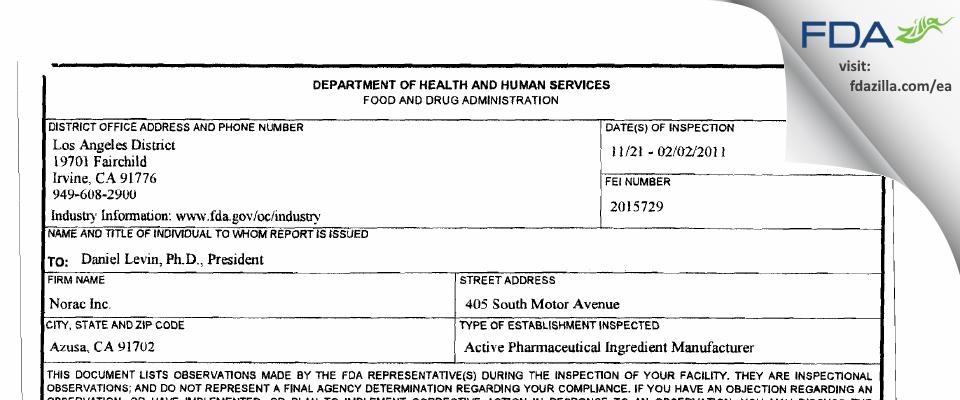 S&B Pharma FDA inspection 483 Dec 2011
