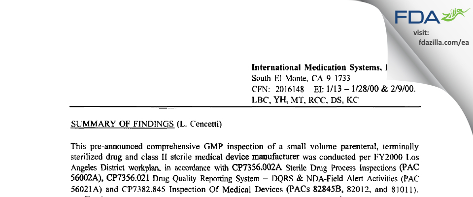 International Medication Systems FDA inspection 483 Feb 2000