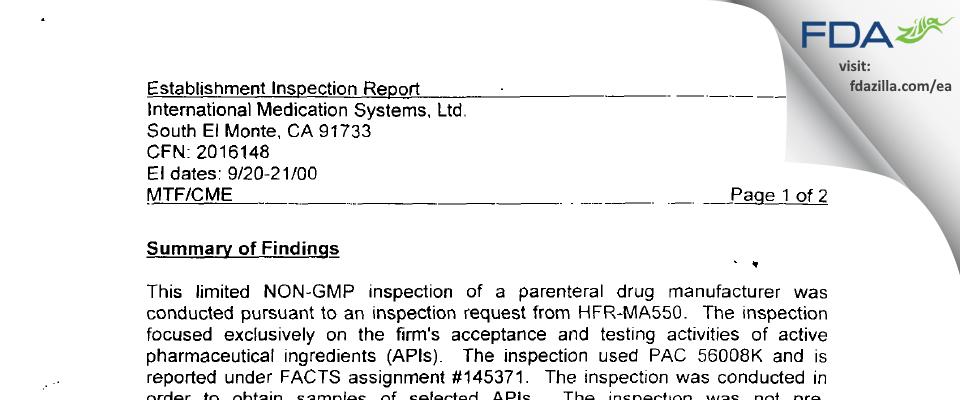 International Medication Systems FDA inspection 483 Sep 2000