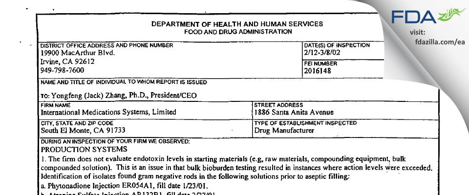 International Medication Systems FDA inspection 483 Mar 2002