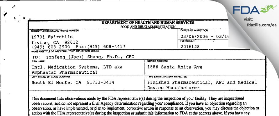 International Medication Systems FDA inspection 483 Mar 2006
