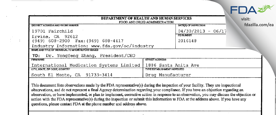 International Medication Systems FDA inspection 483 Jun 2013