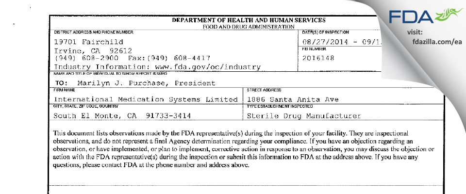 International Medication Systems FDA inspection 483 Sep 2014
