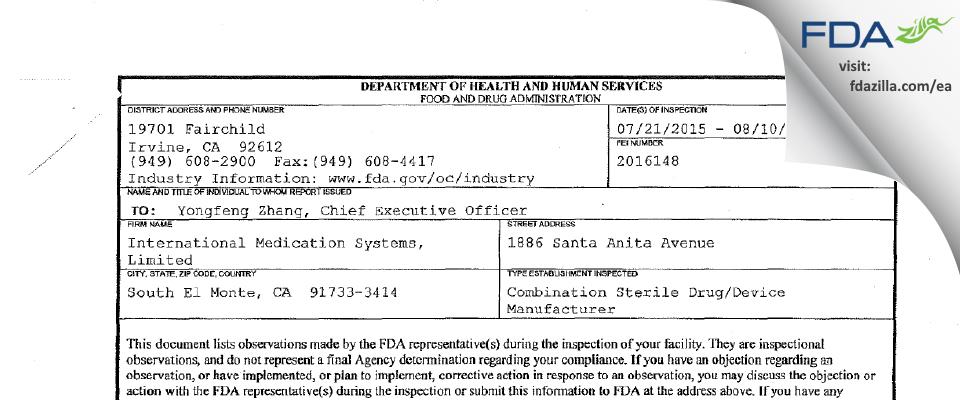 International Medication Systems FDA inspection 483 Aug 2015