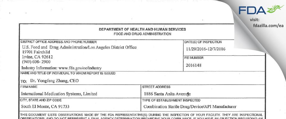 International Medication Systems FDA inspection 483 Dec 2016