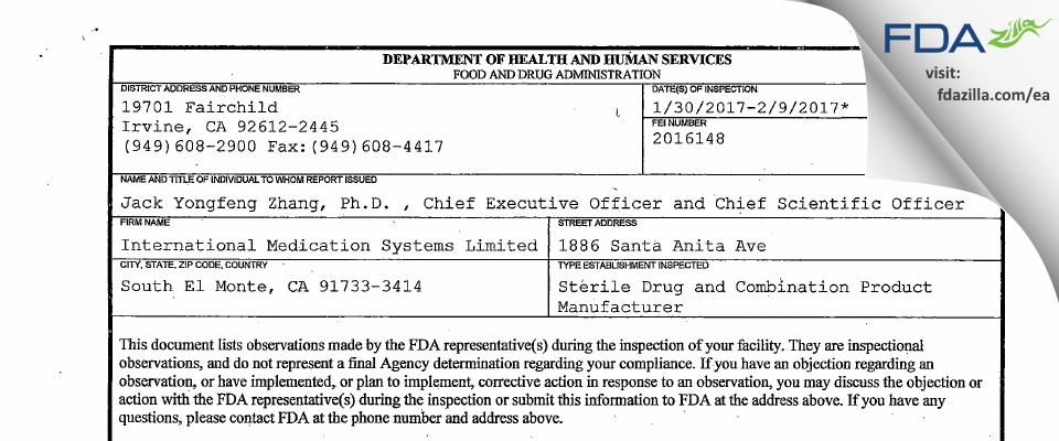 International Medication Systems FDA inspection 483 Feb 2017