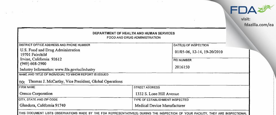 Ormco/Sybronendo FDA inspection 483 Jan 2010