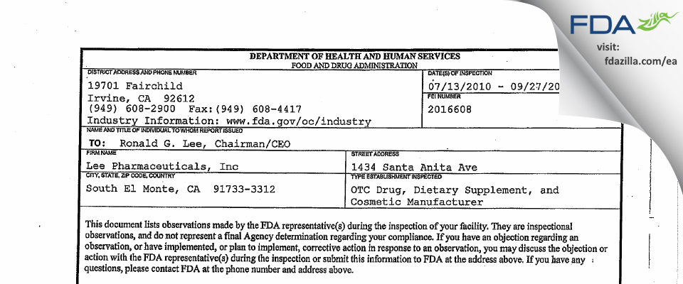 Lee Pharmaceuticals FDA inspection 483 Sep 2010