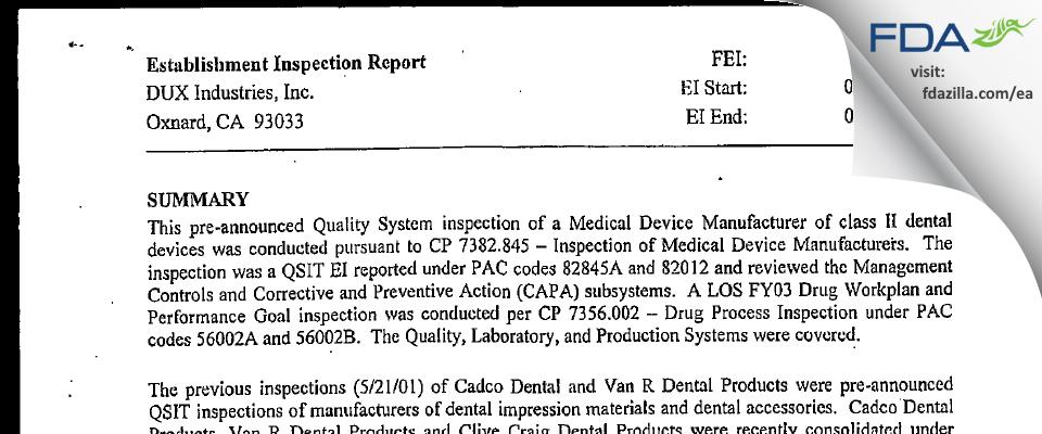 DUX Dental FDA inspection 483 Mar 2003