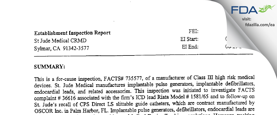 Abbott/St Jude Medical FDA inspection 483 Jun 2006
