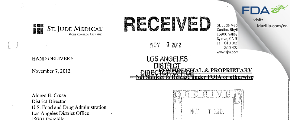 St. Jude Medical, Cardian Rhythm Management Division FDA inspection 483 Oct 2012