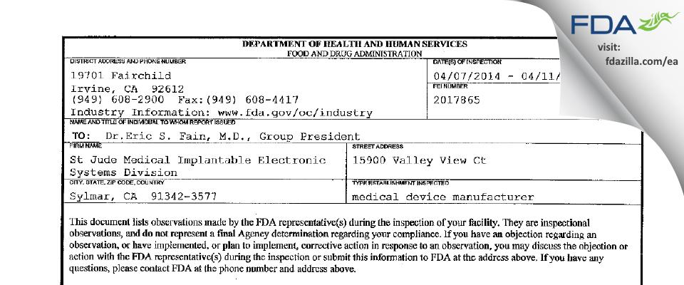 St. Jude Medical, Cardian Rhythm Management Division FDA inspection 483 Apr 2014