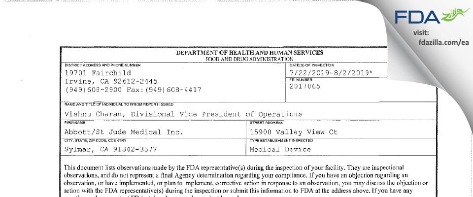 Abbott/St Jude Medical FDA inspection 483 Aug 2019