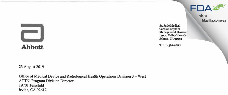 St. Jude Medical, Cardian Rhythm Management Division FDA inspection 483 Aug 2019