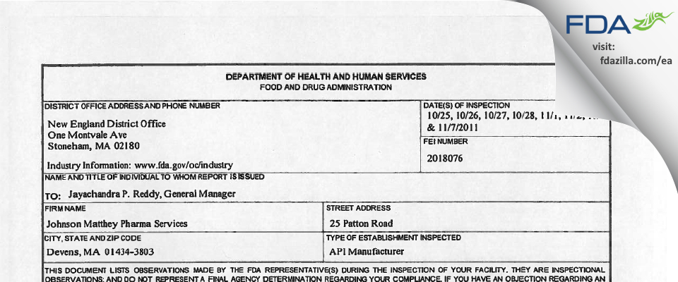 Johnson Matthey Pharma Services FDA inspection 483 Nov 2011