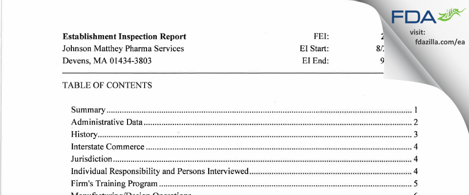 Johnson Matthey Pharma Services FDA inspection 483 Sep 2016