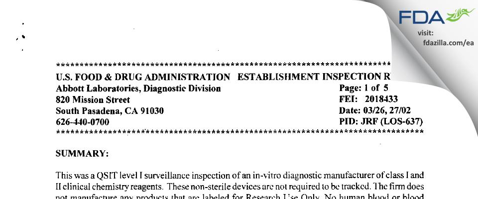 Abbott Labs FDA inspection 483 Mar 2002