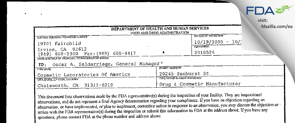 Cosmetic Labs Of America FDA inspection 483 Oct 2005