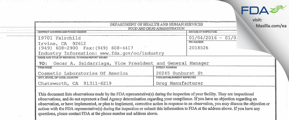 Cosmetic Labs Of America FDA inspection 483 Jan 2016