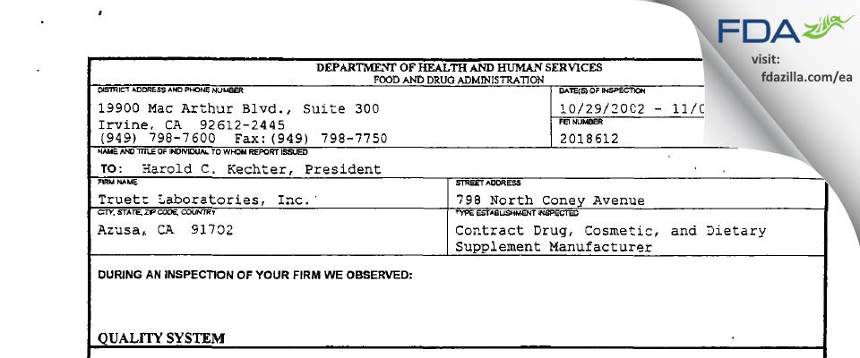 Truett Labs FDA inspection 483 Nov 2002