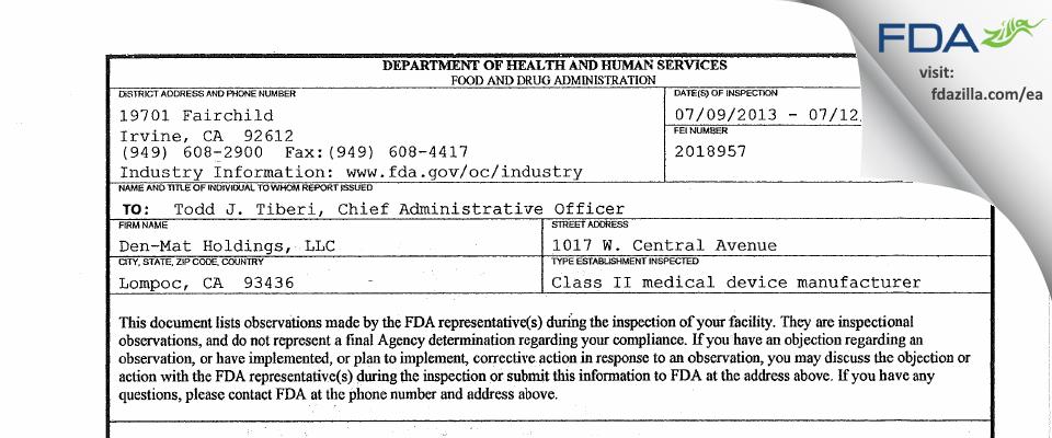 Den-Mat Holdings FDA inspection 483 Jul 2013
