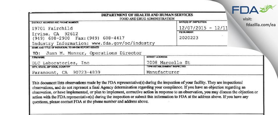 DLC Labs FDA inspection 483 Dec 2015