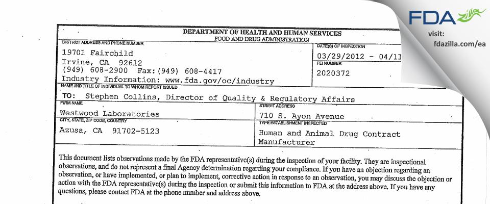 Westwood Labs FDA inspection 483 Apr 2012