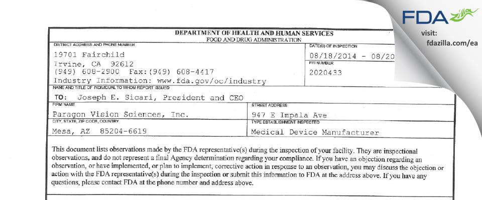 Paragon Vision Sciences FDA inspection 483 Aug 2014