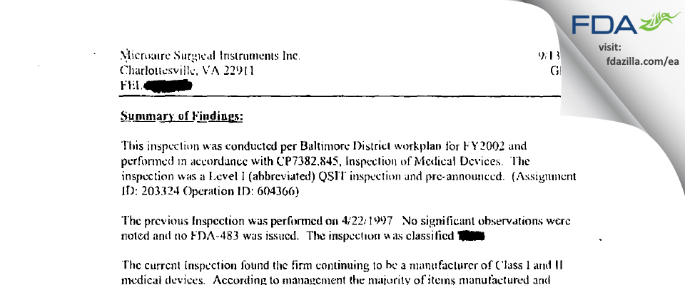 MicroAire Surgical Instruments FDA inspection 483 Sep 2001