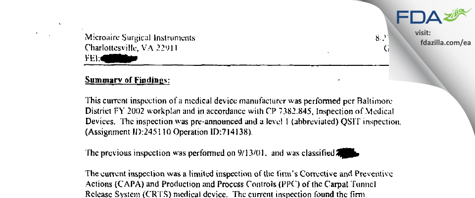 MicroAire Surgical Instruments FDA inspection 483 Aug 2002