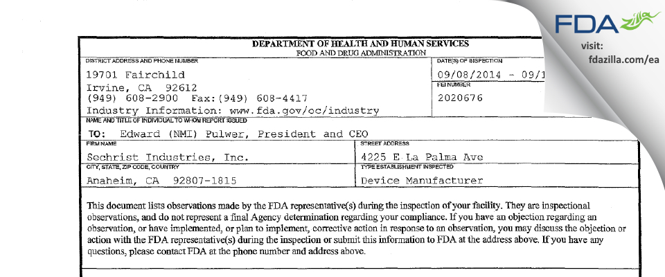 Sechrist Industries FDA inspection 483 Sep 2014