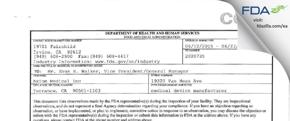 Axiom Medical FDA inspection 483 Jun 2015