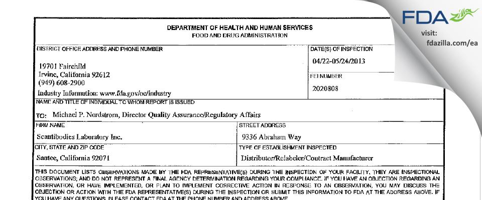Scantibodies Laboratory FDA inspection 483 May 2013