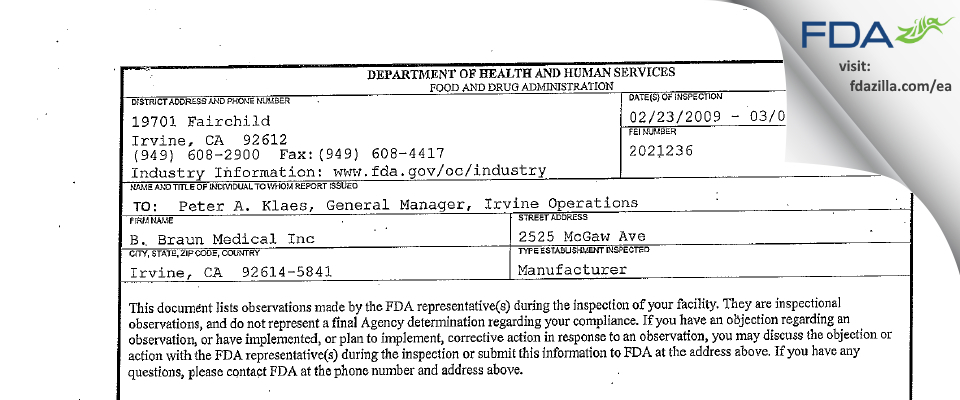 B. Braun Medical FDA inspection 483 Mar 2009