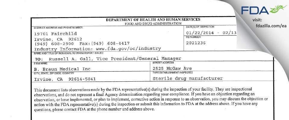 B. Braun Medical FDA inspection 483 Feb 2014