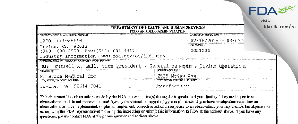 B. Braun Medical FDA inspection 483 Mar 2015