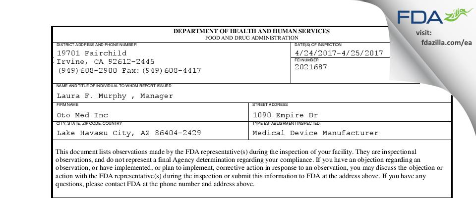 Oto Med FDA inspection 483 Apr 2017
