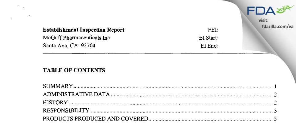 McGuff Pharmaceuticals FDA inspection 483 Nov 2002
