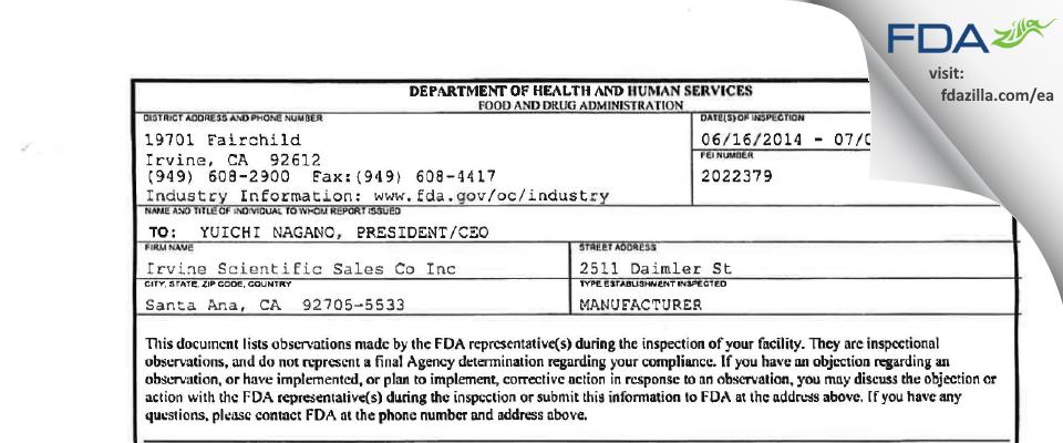 Irvine Scientific Sales Co FDA inspection 483 Jul 2014
