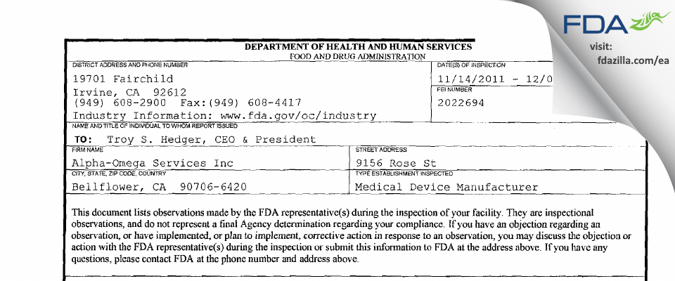 Alpha-Omega Services FDA inspection 483 Dec 2011