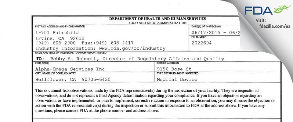 Alpha-Omega Services FDA inspection 483 Jun 2015