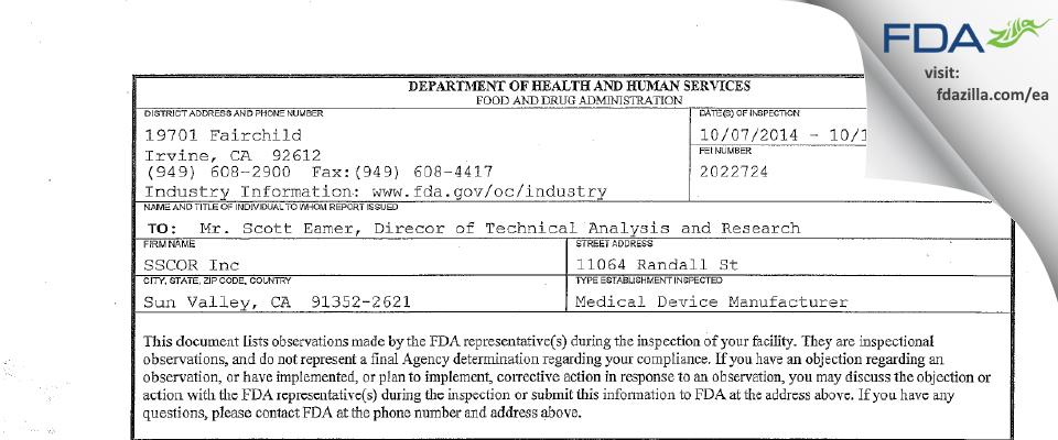 SSCOR FDA inspection 483 Oct 2014