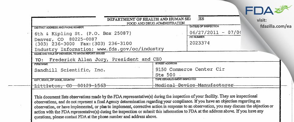 Sandhill Scientific FDA inspection 483 Jul 2011