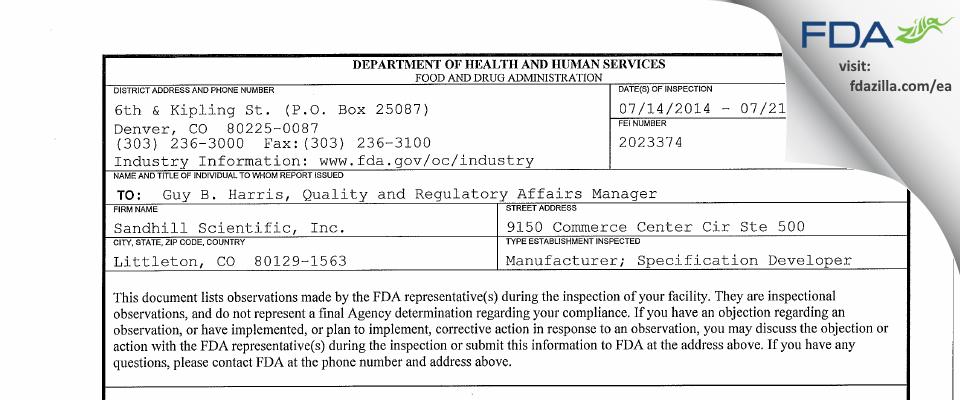 Sandhill Scientific FDA inspection 483 Jul 2014