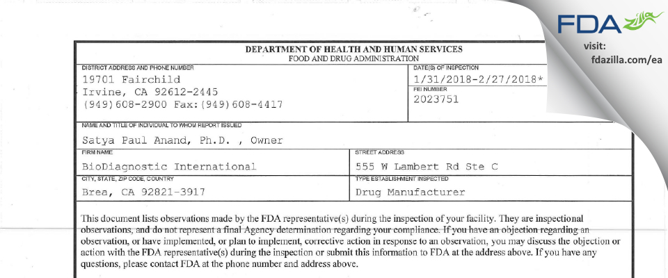BioDiagnostic International FDA inspection 483 Feb 2018