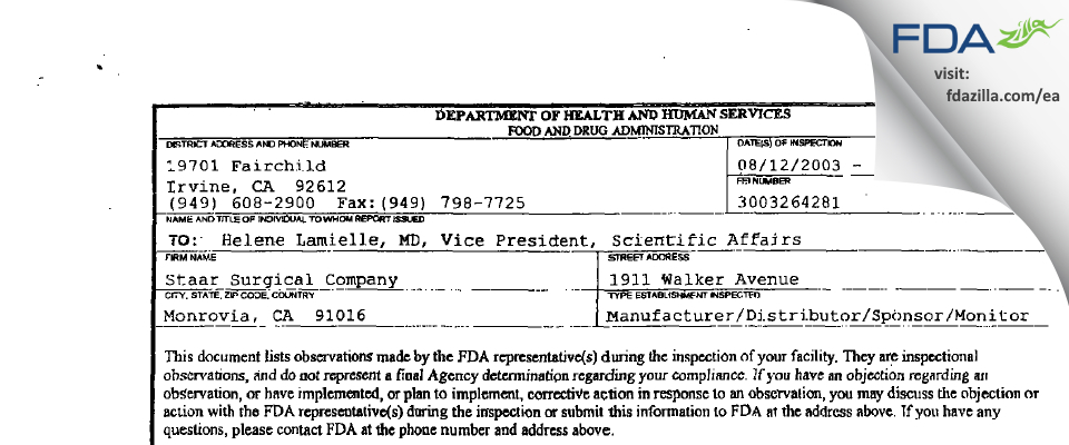Staar Surgical Company FDA inspection 483 Sep 2003