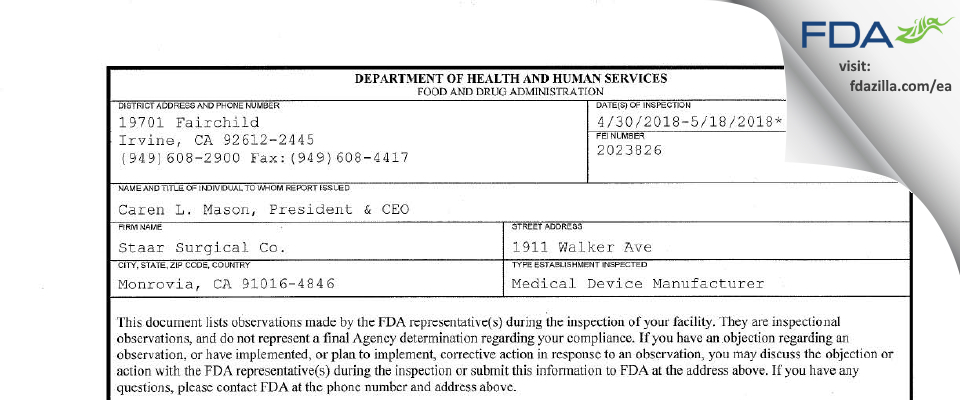 Staar Surgical Company FDA inspection 483 May 2018